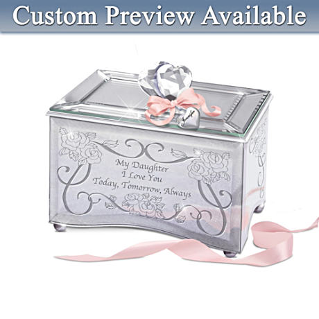 "Personalized ""My Daughter, I Love You"" Mirrored Music Box"