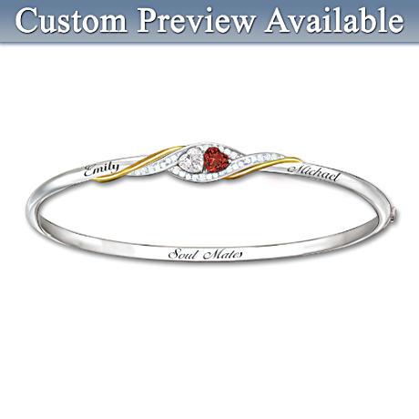 Two Hearts Become Soul Mates Topaz/Garnet Engraved Bracelet