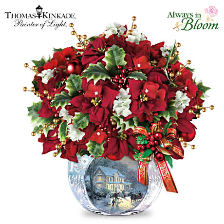 Thomas Kinkade Bringing Christmas Cheer Tabletop Centerpiece