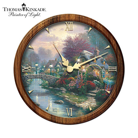 "Thomas Kinkade ""Lamplight Bridge"" Stained-Glass Wall Clock"