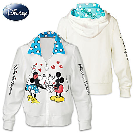 Disney Kissin' Mickey And Minnie Vintage Art Women's Hoodie