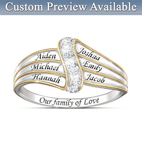 """Our Family Of Love"" Personalized Diamond Ring"