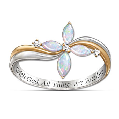 The Holy Trinity Opal And Diamond Cross Ring