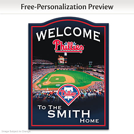 Phillies Wooden Welcome Sign Personalized With Name