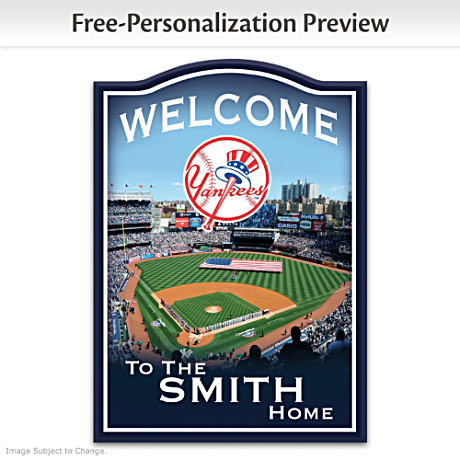 New York Yankees Personalized Wooden Welcome Sign