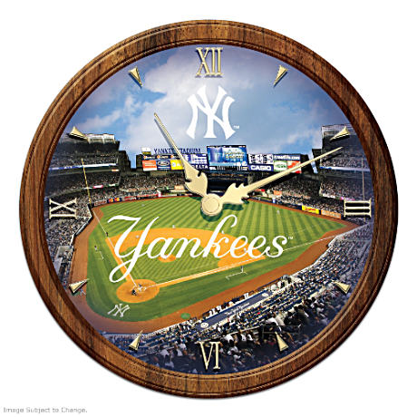 New York Yankees Day-to-Night Lighted Stained-Glass Clock