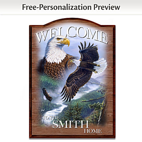 Al Agnew Eagle Art Welcome Sign Personalized With Your Name