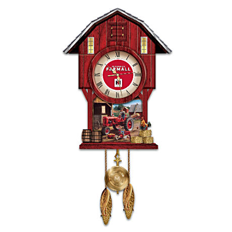 """Farmall Times"" Barn-Shaped Wood Clock With Tractor Cuckoo"