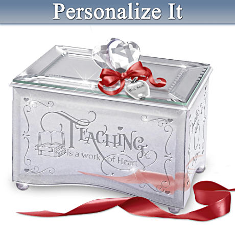 Personalized Mirrored Music Box Honoring Teachers
