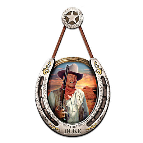 The Duke Portrait In Nickel Finish Horseshoe Wall Sculpture