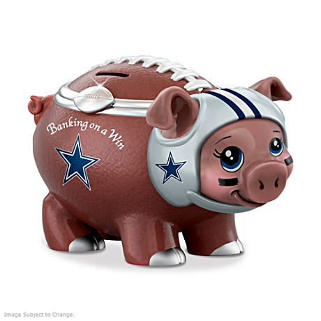Dallas Cowboys Porcelain Football Piggy Bank
