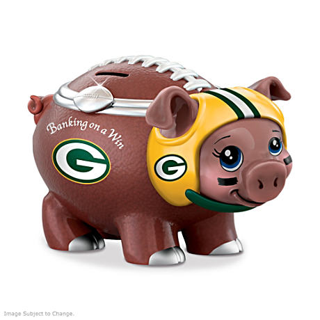 Green Bay Packers Porcelain Football Piggy Bank