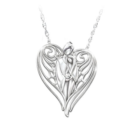 Guardian Angel Diamond Pendant Necklace For Granddaughters