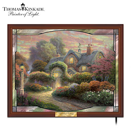 "Thomas Kinkade ""Rosebud Cottage"" Stained-Glass Panorama"