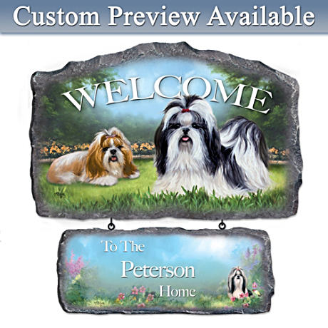 Linda Picken Shih Tzu Art Personalized Welcome Sign