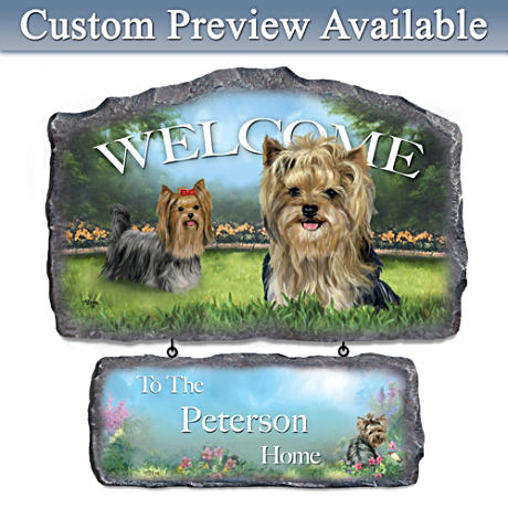 Linda Picken Yorkie Art Personalized Welcome Sign