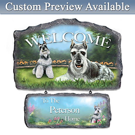 Linda Picken Schnauzer Art Personalized Welcome Sign