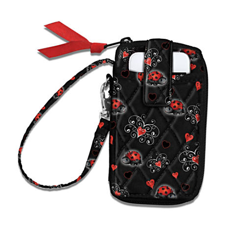 Quilted Ladybug Wristlet For Granddaughter Holds Cell Phone