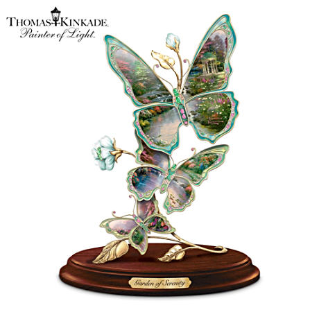 Porcelain Butterfly Sculpture With Thomas Kinkade Artwork