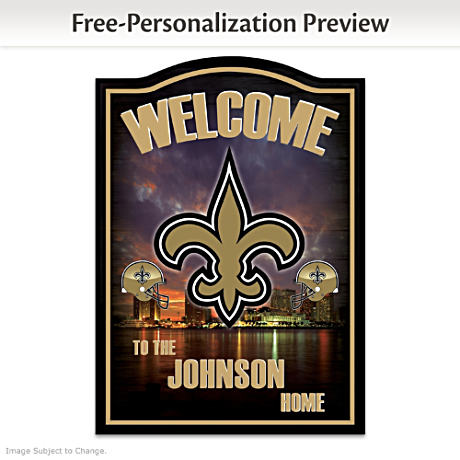 Saints Wooden Welcome Sign Personalized With Name
