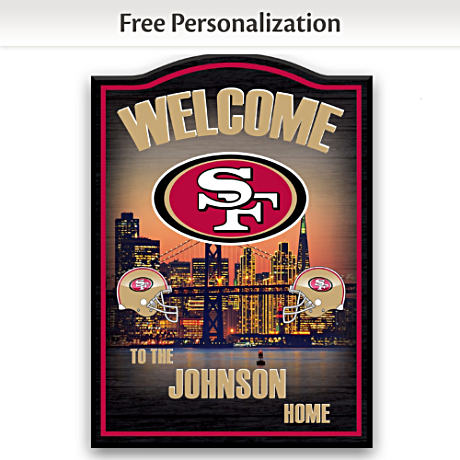 49ers Wooden Welcome Sign Personalized With Name