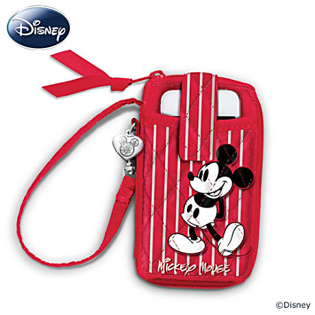Disney Mickey And Minnie Quilted Wristlet With Heart Charm