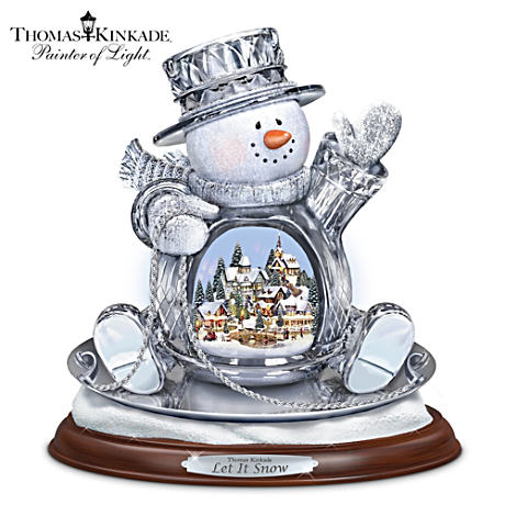 Thomas Kinkade Lighted Musical Crystal Sledding Snowman