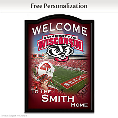 Wisconsin Badgers Welcome Sign Personalized With Family Name