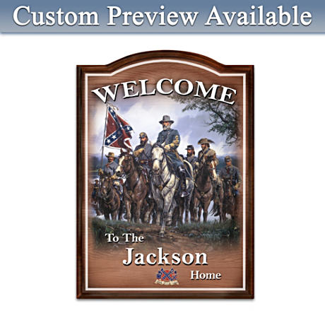 Civil War Wooden Welcome Sign Personalized With Family Name