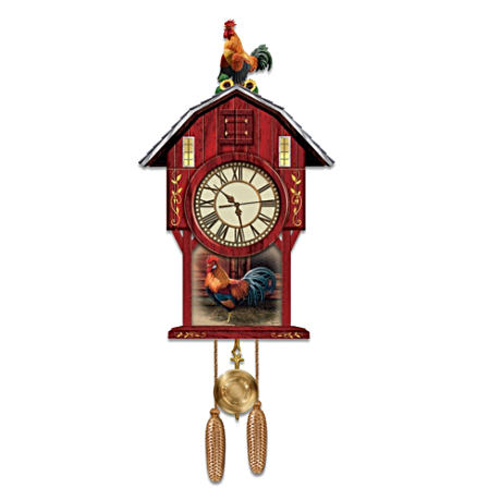 Rosemary Millette Rooster Art Cuckoo Clock