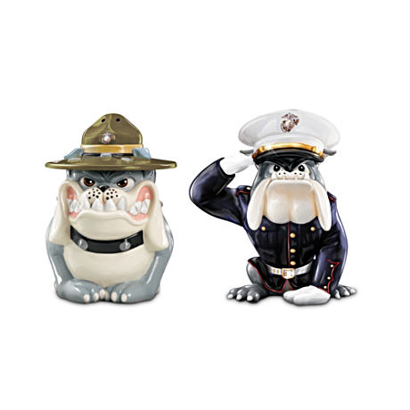 USMC Devil Dog Porcelain Salt And Pepper Shakers