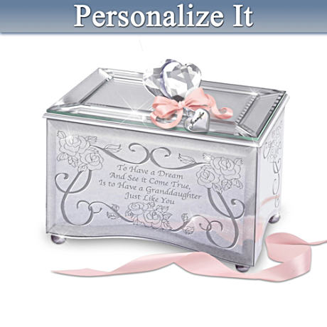 Personalized Mirrored Music Box For Granddaughters