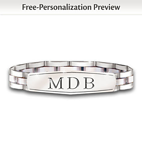 Personalized, Engraved Stainless Steel Bracelet For Grandson