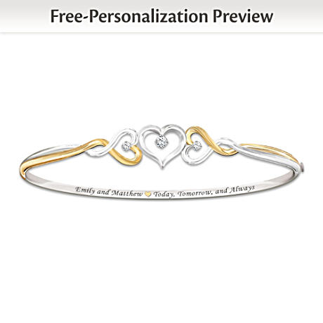 """""""Two Hearts Become One"""" Name-Engraved Diamond Bracelet"""