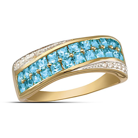 """Brilliant Embrace"" Blue Topaz And Diamond Ring"