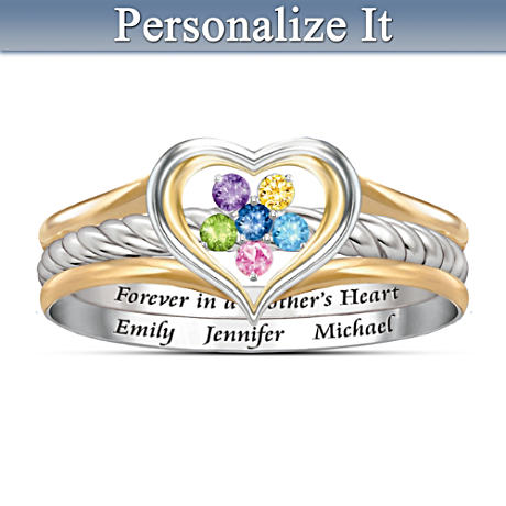 """A Mother's Loving Heart"" Personalized Stacking Ring For Mom"