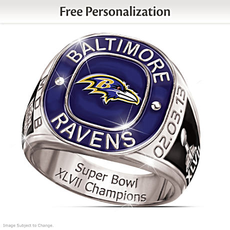 Super Bowl XLVII Champions Ravens Personalized Men's Ring