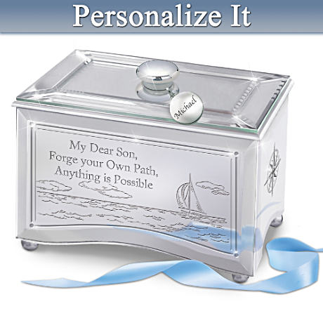 Personalized Mirrored Music Box For Sons