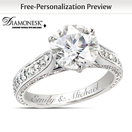 """Diamonesk """"Love's Perfection"""" Engagement-Style Engraved Ring"""