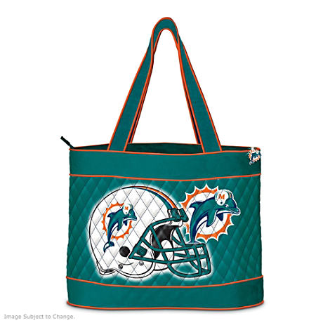 Miami Dolphins Tote Bag With Free Cosmetic Cases