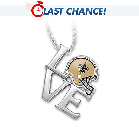"""I Love My Saints"" Sterling Silver Pendant Necklace"