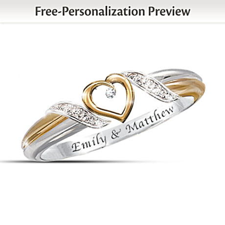 """""""Heart of Love"""" Diamond Ring With 2 Engraved Names"""