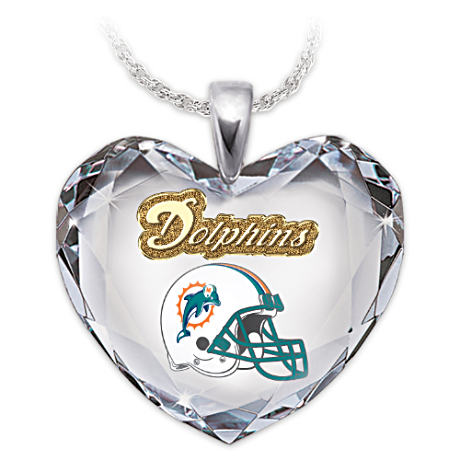 Go Dolphins! Crystal Heart Pendant Necklace