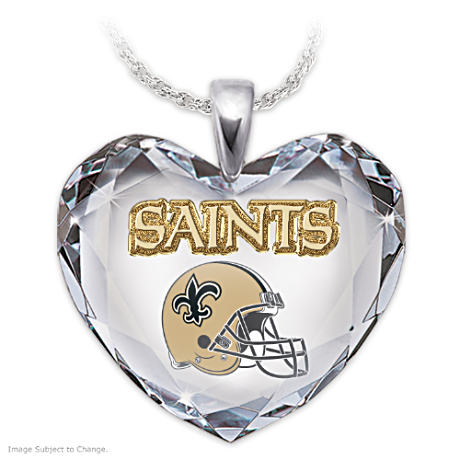 Go Saints! Crystal Heart Pendant Necklace