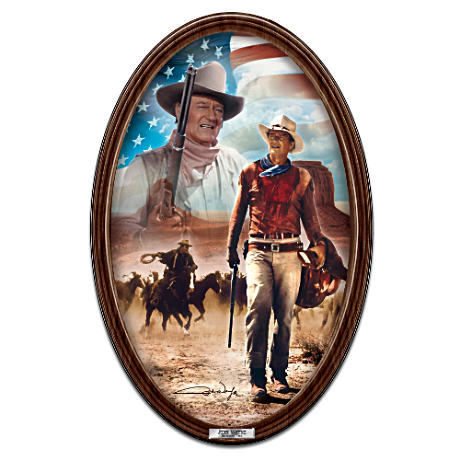 """John Wayne, American Hero"" Framed Collector Plate"