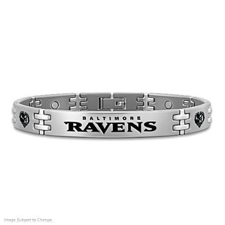 Ravens Strong! Men's Titanium Magnetic Bracelet