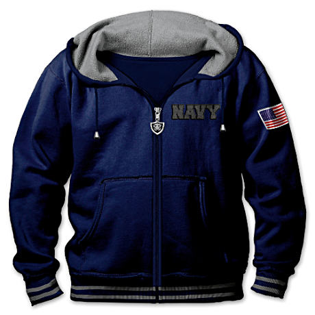 """U.S. Navy Freedom Fighter"" Men's Hoodie With Embroidery"