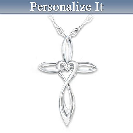 Diamond Cross Pendant For Daughter With Name-Engraved Charm