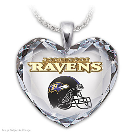 Go Ravens! Crystal Heart Pendant Necklace