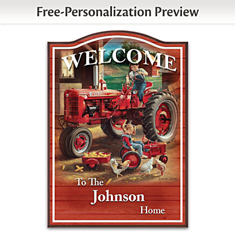 Farmall Wooden Welcome Sign Personalized With Family Name